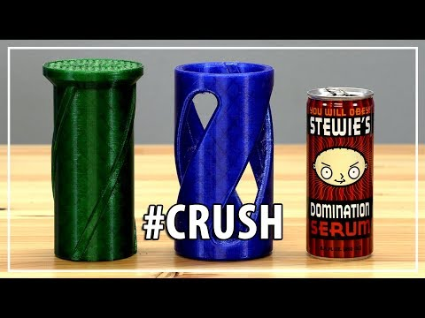 Crushing Cans with 3D Printing using Matterhackers PETG & Prusa i3 mk3 / Thanks MyMiniFactory & ESSO