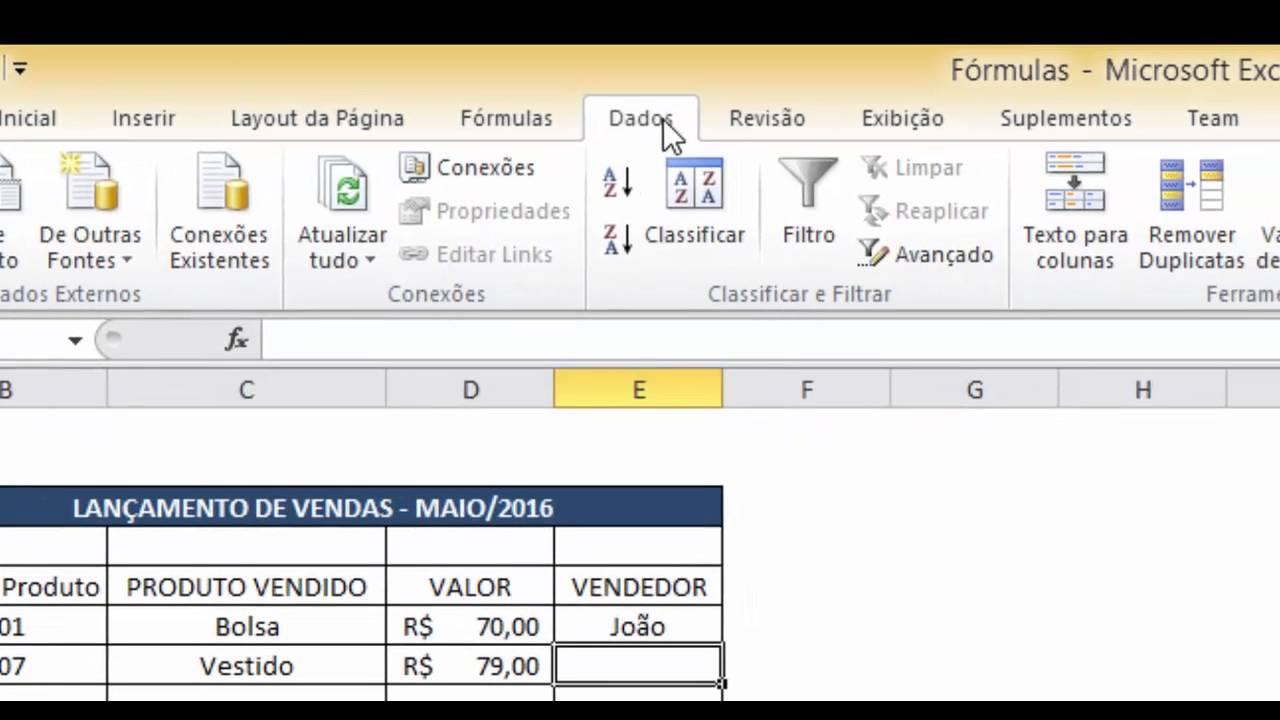 Automatizar Planilha   Fórmula PROCV e Lista Suspensa   20 by ...