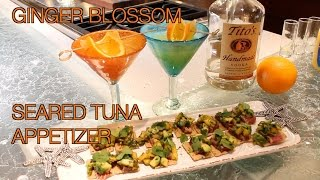 Ginger Blossom Cocktail & Seared Tuna Appetizer With Tropical Fruit Salsa | Clean Drink Happy Hour