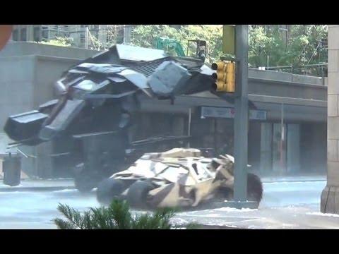 The BAT Chasing Tumblers Down the Street!! (The Dark Knight Rises)