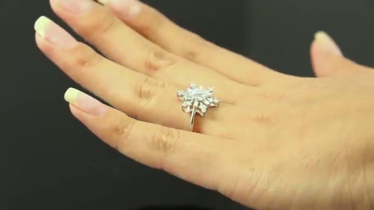 0 35ct Estate Vintage Diamond Snowflake Cluster Engagement Ring 14k White  Gold