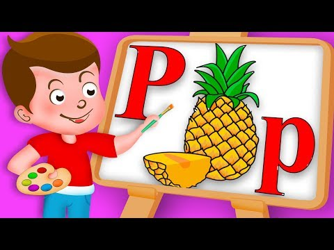Drawing Alphabet P Letter with Pineapple fruit Drawing Paint And Colouring For Kids kids Drawing TV
