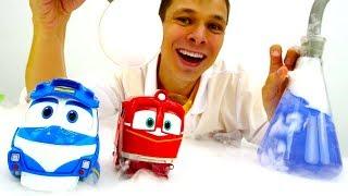 Игры с доктор Ой - Роботы-поезда - Про машинки.