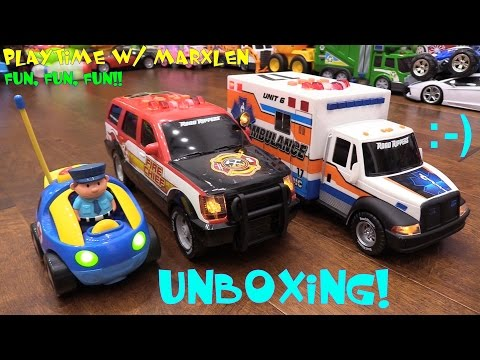 Toy Cars for Toddlers: RC Cartoon Police Car, Motorized Fire