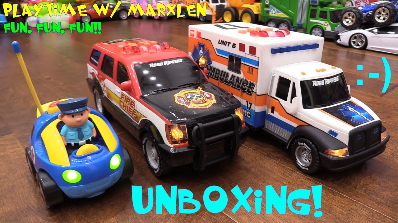Toy Cars for Toddlers RC Cartoon Police Car Motorized Fire Truck
