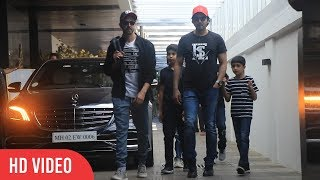 Hrithik Roshan and Zayed Khan with Their Kids Out For Lunch Together at Bandra Today