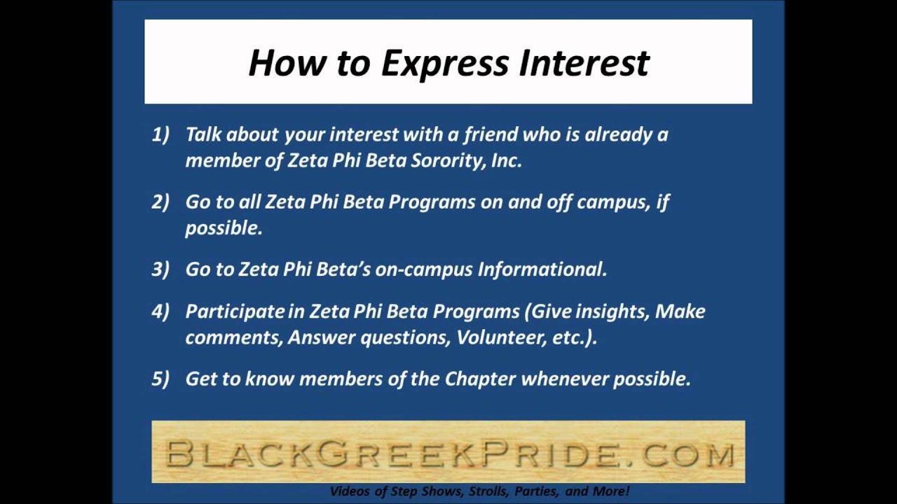 How To Express Interest In Zeta Phi Beta Youtube