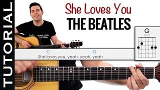 Como tocar SHE LOVES YOU de The Beatles en guitarra
