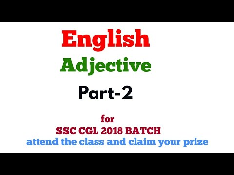 Adjective -2 #English lecture 22 for SSC CGL 2018 || BANK PO