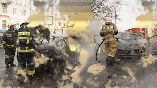 Автомобиль такси дотла сгорел у Комсомольского моста в Волгограде (Описание под видео)