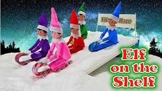 Purple & Pink Elf on the Shelf - Candy Cane Sledding with Red, Blue, and Green Elves! Day 6