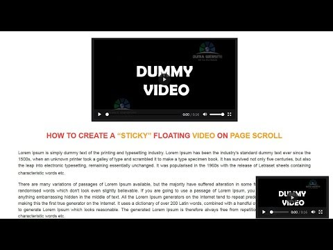 How to Create a Sticky Floating Video on Page Scroll