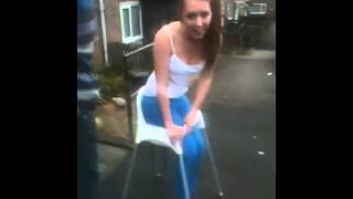 Girl gets stuck in high chair