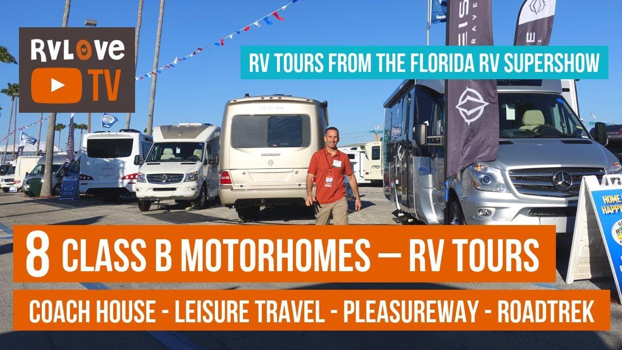 Tour 8 Class B, B+ Motorhomes/Vans: Pleasureway, CoachHouse, LeisureTravel,  RoadTrek | Tampa RV Show