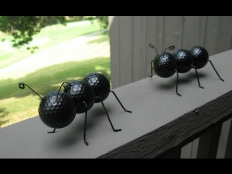 Ant Crafted Out of Recycled Golf Balls and Wire Hangers