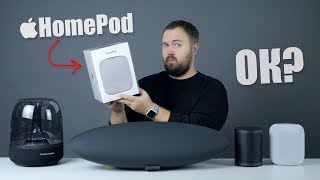 HomePod - smart portative audio system from Apple: unpacking and comparison