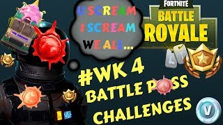 Fortnite - Battle Pass Challenge Week 4 - Ice Cream Trucks,Vehicle Tower, Sculpture & Circle Hedges