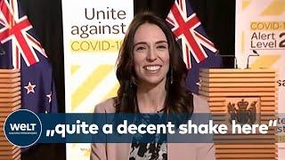 """Die erde bebt und trotzdem ist neuseelands regierungschefin jacinda ardern bei einem live-interview cool geblieben. """"we are just having a bit of an earthquak..."""