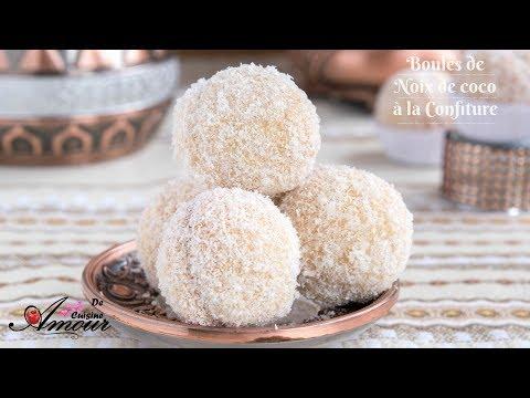 boules de noix de coco à la confiture, boules de neige gateaux secs par Soulef amour de Cuisine