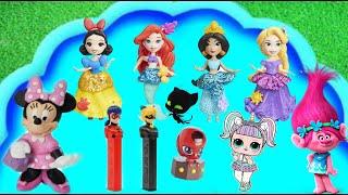 Learn Disney Characters Rapunzel Aurora Ariel Ladybug Trolls LoL Surprise in Bubble pool Kids