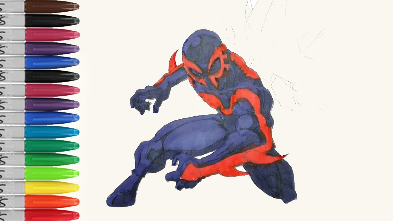 SPIDERMAN 2099 Is Preparing to Fight Coloring Pages SAILANY