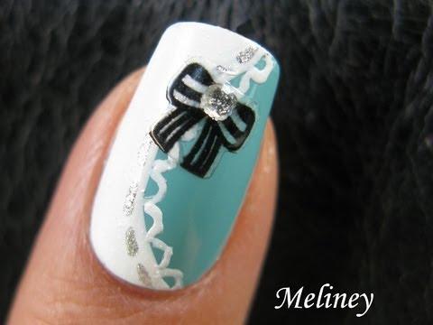 Tiffany Black Bow Sticker Naiis Cute Classy Pretty Lace Nail Art