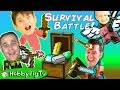 MINECRAFT Battle Game! Who Steals Treasures? Build+Survival Mode, Big Bros Vs. Little HobbyPigTV