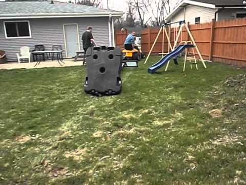 How to take an old basketball hoop out of your backyard, redneck style. - How To Take An Old Basketball Hoop Out Of Your Backyard, Redneck