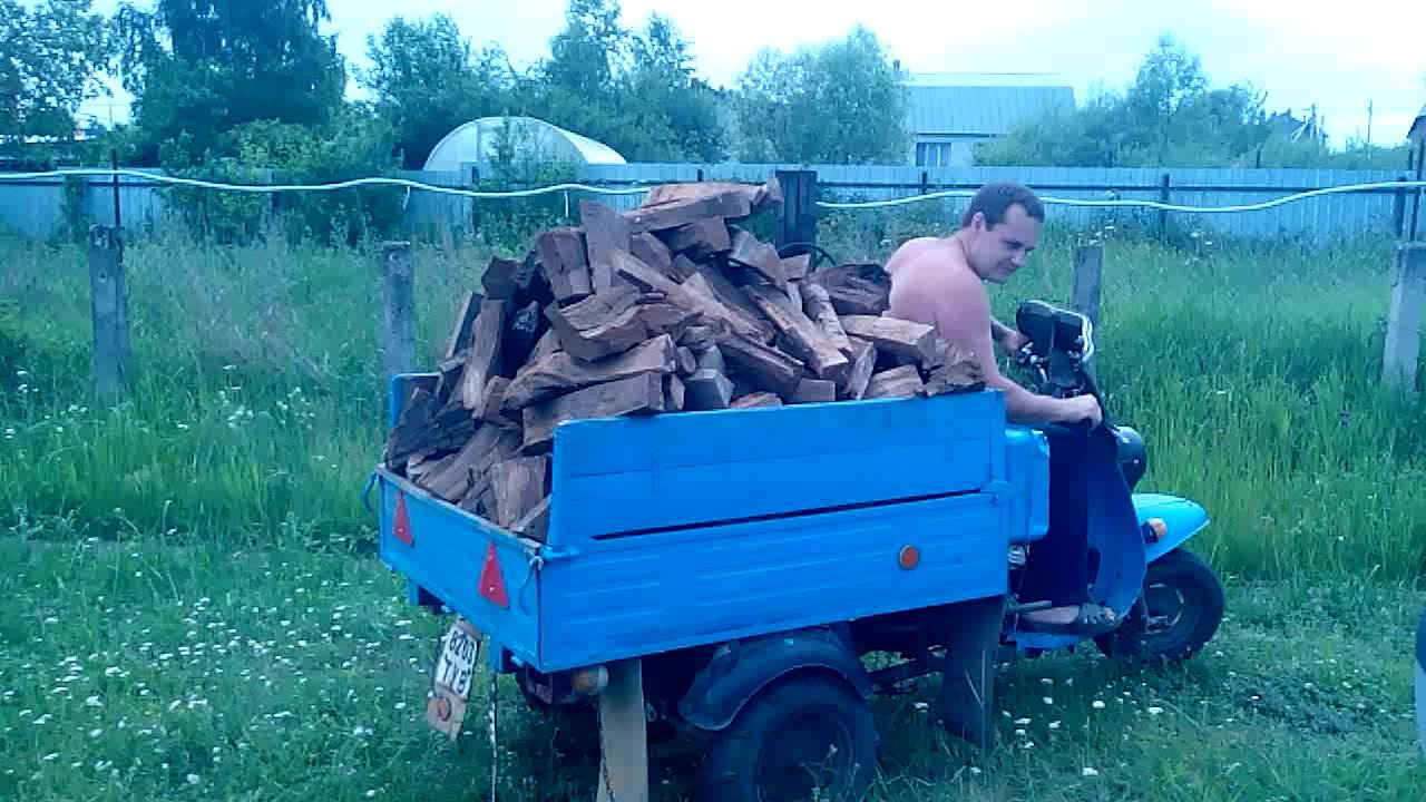 Мотороллер муравей возит дрова
