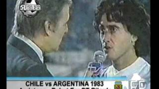 Chile 2 vs Argentina 2 Amistoso Debut Era Bilardo 12/05/1983 Gareca, Alonso, Trossero, Ruggeri.