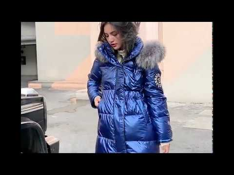Glossy Parka Down Jacket With Fur