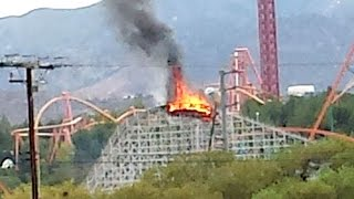 Roller Coaster Is Set On Fire At Six Flags