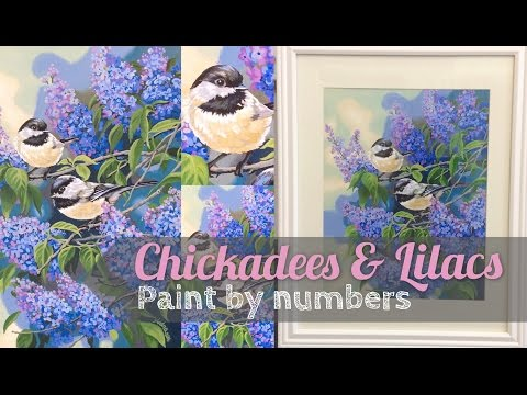 Chickadees and Lilacs | Paint by numbers acrylic speedpaint tutorial