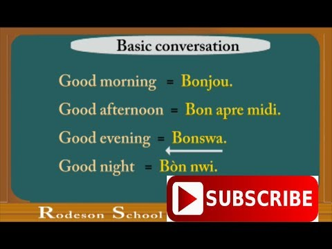 Basic conversation in English to Creole= Conversation basiqu