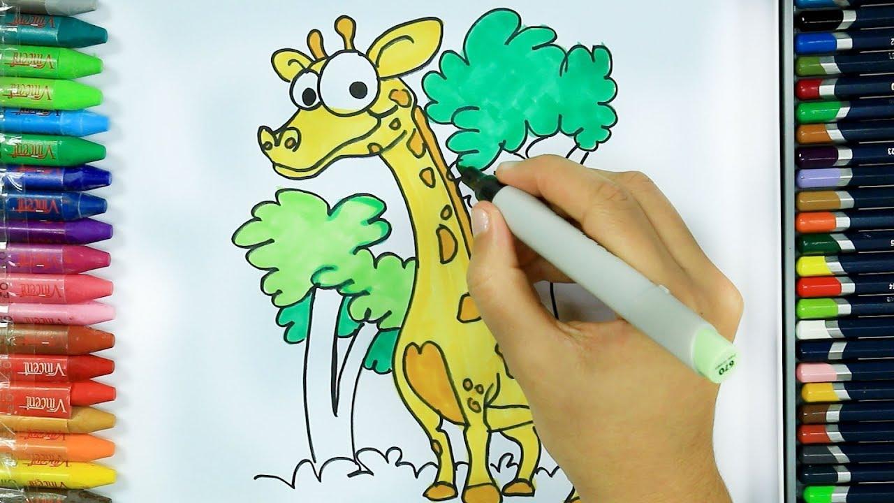 Wie zeichnet man Giraffe 🍀 | Ausmalen Kinder HD | Malen für Kinder ...