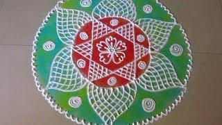 How to draw beautiful flower shaped rangoli design | Poonam Borkar Rangoli Designs