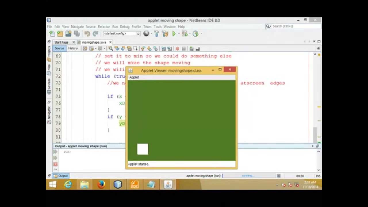 java applet moving catching shape