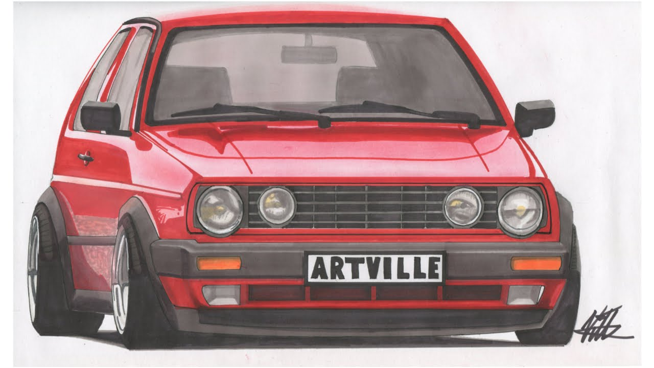 volkswagen golf gti mk2 drawing time lapse youtube