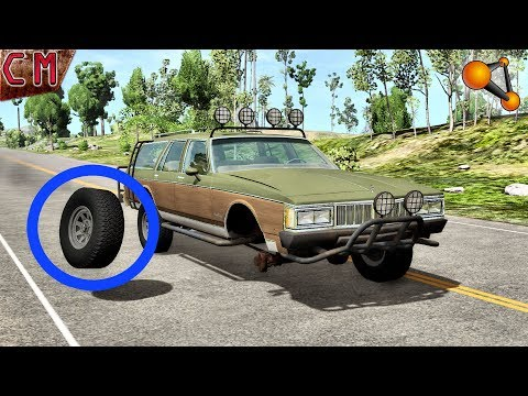 Punctured tires and pull off Wheels BeamNG...