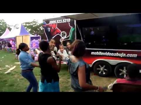 Girls having fun dancing at a Mobile Video Game Truck Abuja Party!!