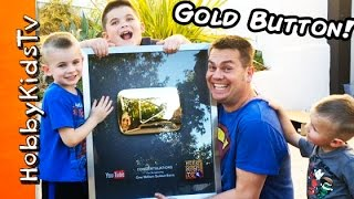 youtube gold play button 1 million subscriber award thank you from hobbykidstv