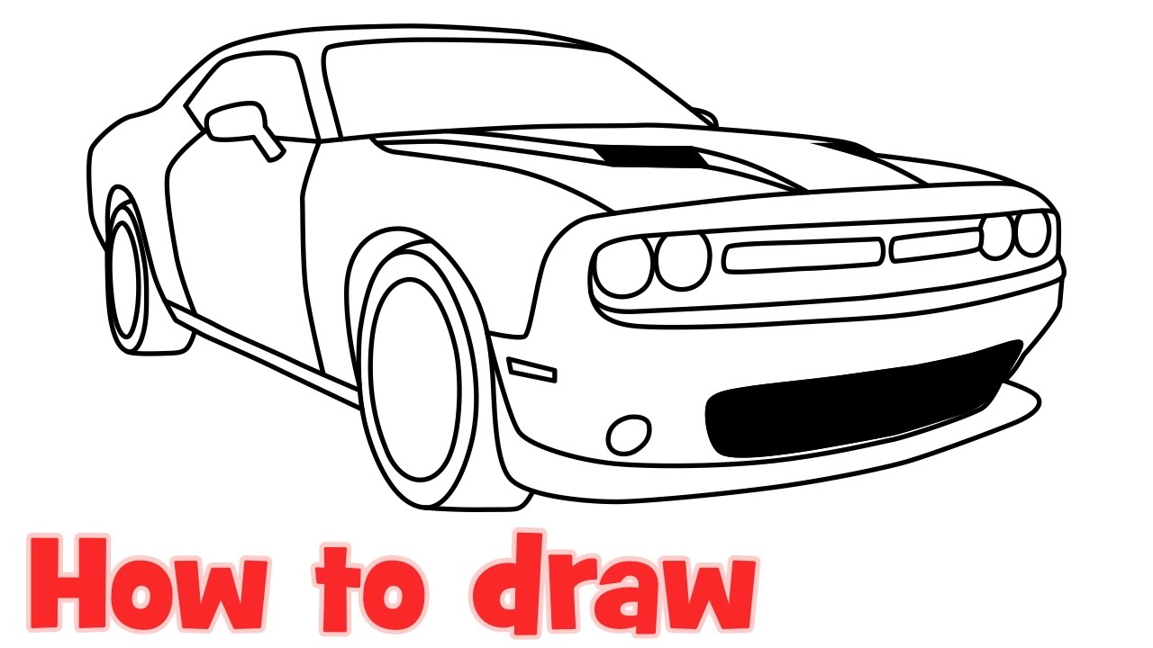 how to draw a car dodge challenger rt scat pack 2016 step by step youtube. Black Bedroom Furniture Sets. Home Design Ideas