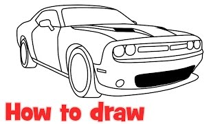 How to draw a car Dodge Challenger RT Scat pack 2016 step by step
