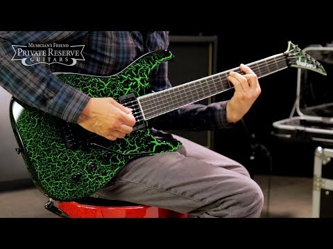 Jackson Custom Select Soloist Electric Guitar, Black Green Crackle