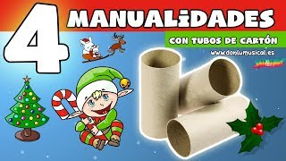 4 Manualidades Para Navidad Con Reciclaje De Rollos De Papel Higiénico Youtube