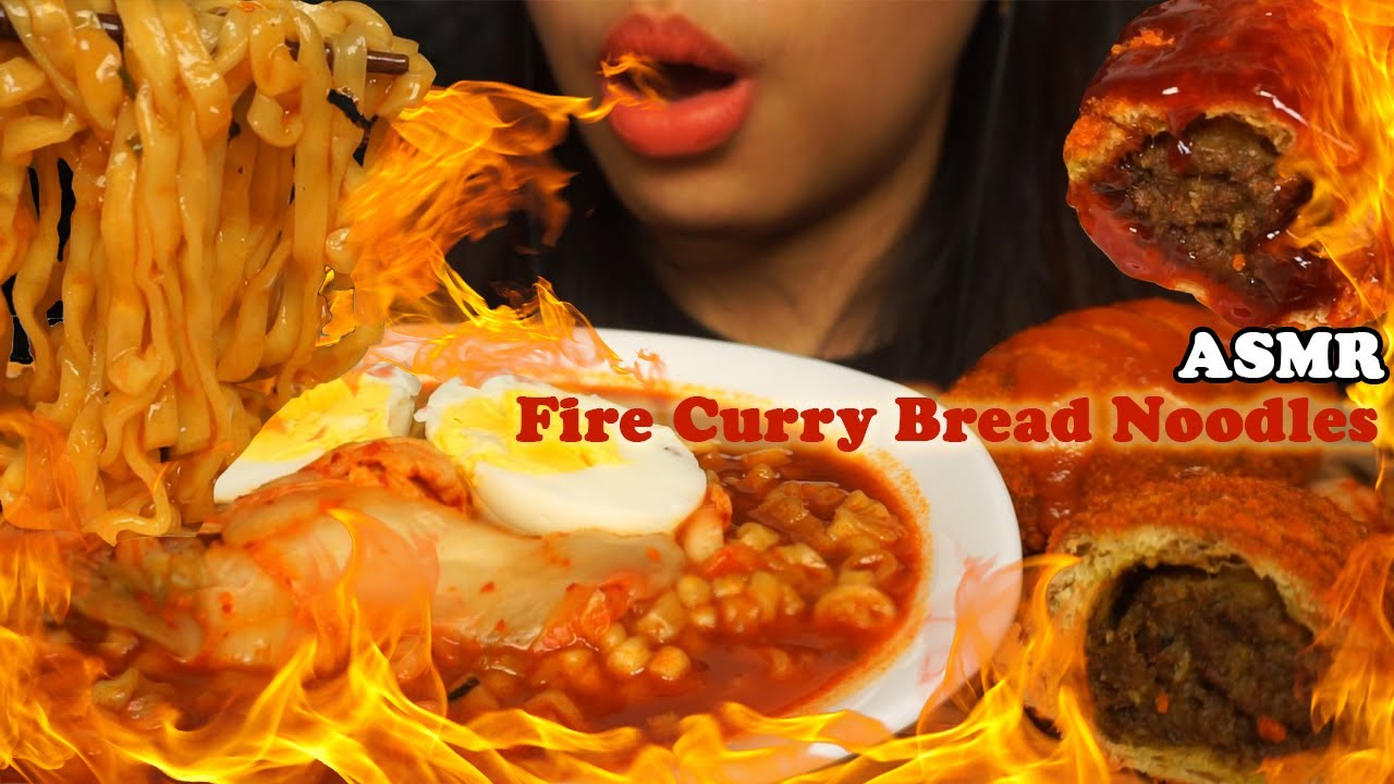 ASMR Samyang Kuah Roti Kari Pedasss (Spicy Fire Noodles Stew & Spicy Curry Bread) | Eating Sounds