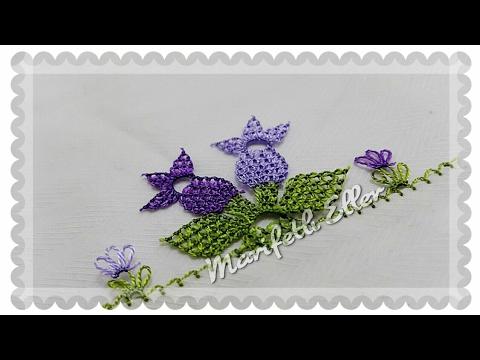 İğne Oyası İkiz Çiçekler Modeli Yapımı Türkçe Anlatımlı Videolu