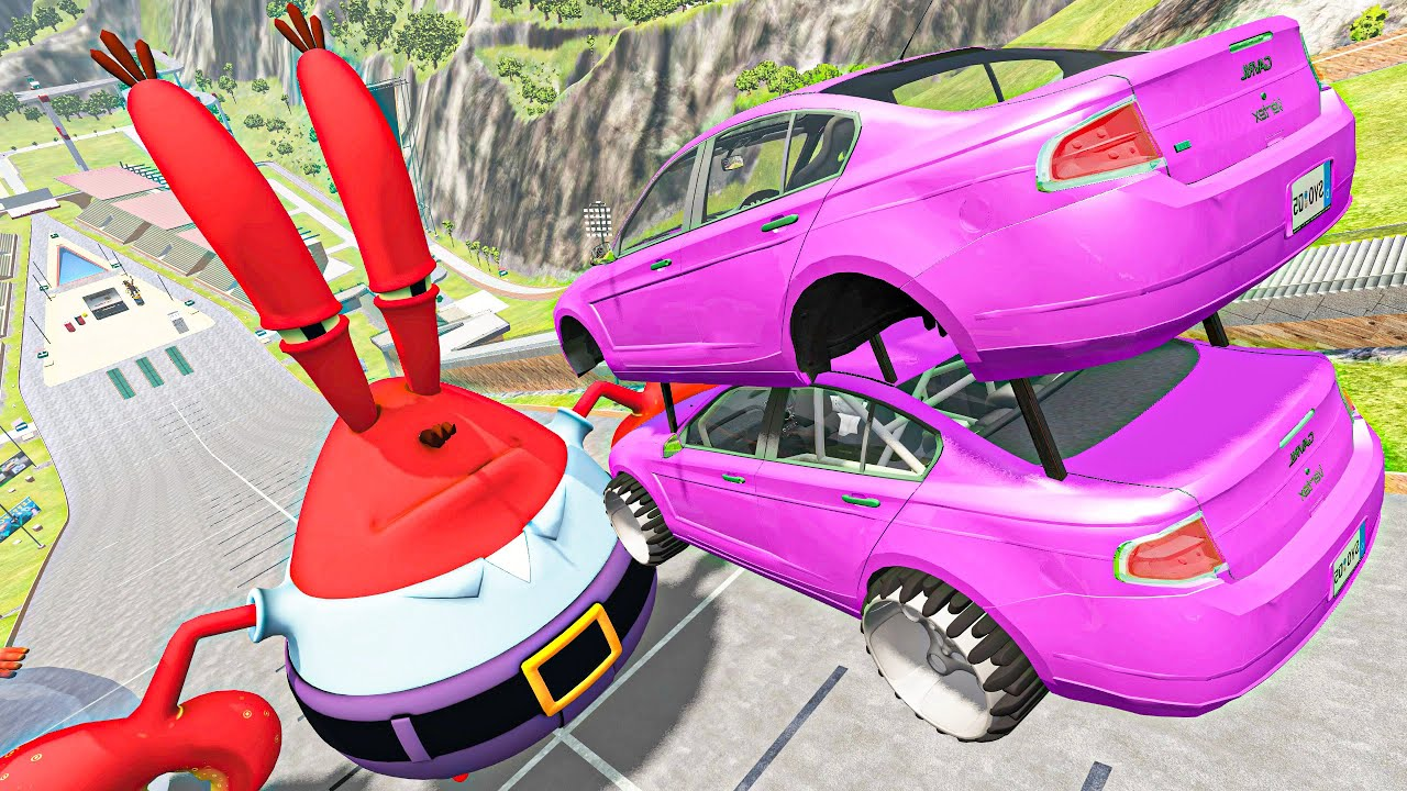 BeamNG Drive Game - Crazy Cars Jumps and Crashes Over Mr.Krabs | Vehicles Destruction Compilation