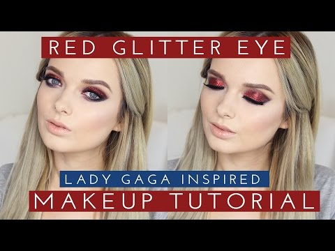 Red Glitter Makeup Tutorial Lady Gaga Superbowl MyPaleSkin