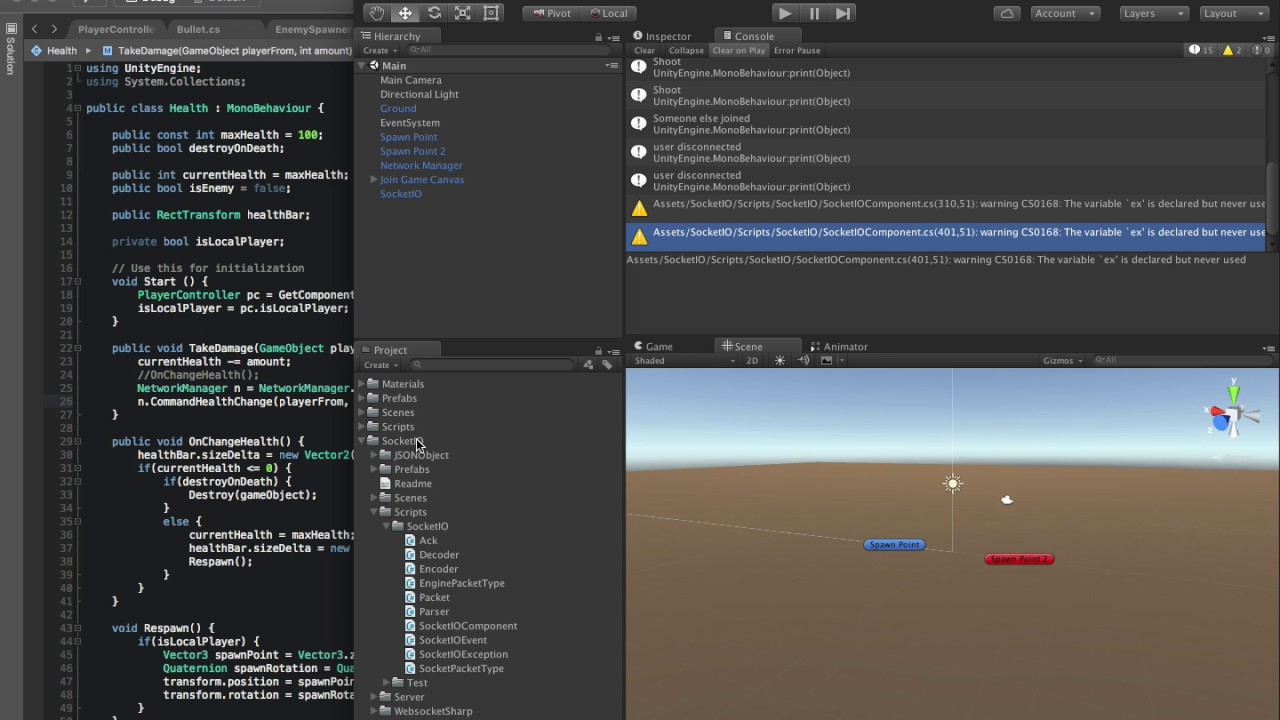 Unity 5 Multiplayer Networking Node JS socket io Pt15